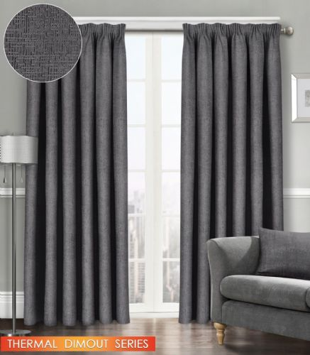 SEMI PLAIN READY MADE THERMAL WOVEN MATERIAL DIMOUT PENCIL PLEAT PAIR CURTAINS CHARCOAL COLOUR